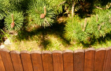 Floranica® Spiked Roll Boarder as plug-in fence 203 cm long, height 20 cm as wooden border for flower beds, border for lawn edges or palisades – natural color weatherproof impregnated – Bild 6