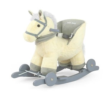 POLLY 2in1 soft and cuddly rocking horse hobbyhorse plush rocking animal rocking toy in 9 colors with sound effects for small children (12 months +) – image 1