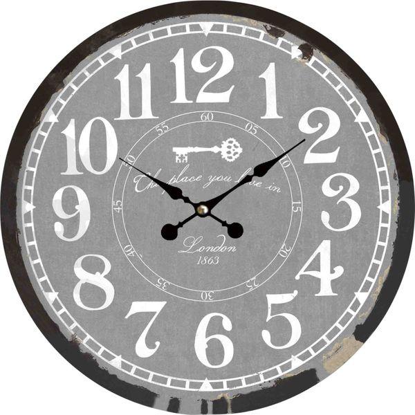 Wanduhr Uhren Dekouhr Vintage Holz 34cm Shabby Romantik Landhaus Retro Paris – Bild 16