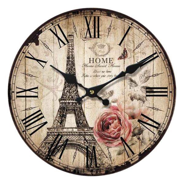 Wanduhr Uhren Dekouhr Vintage Holz 34cm Shabby Romantik Landhaus Retro Paris – Bild 11