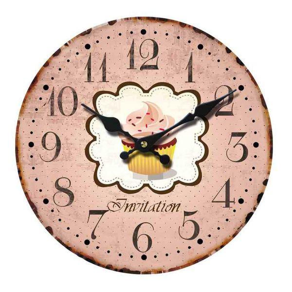 Wanduhr Uhren Dekouhr Vintage Holz 34cm Shabby Romantik Landhaus Retro Paris – Bild 4