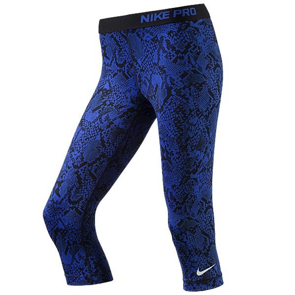 Nike Damen Pro Fitnesshose 3/4 Sporthose Caprihose Game Royal