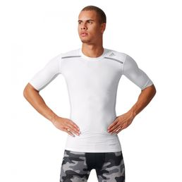 adidas Perfomance TF Chill Tee Techfit Funktionsshirt Compression Fussball Shirt White/Grey AJ5706