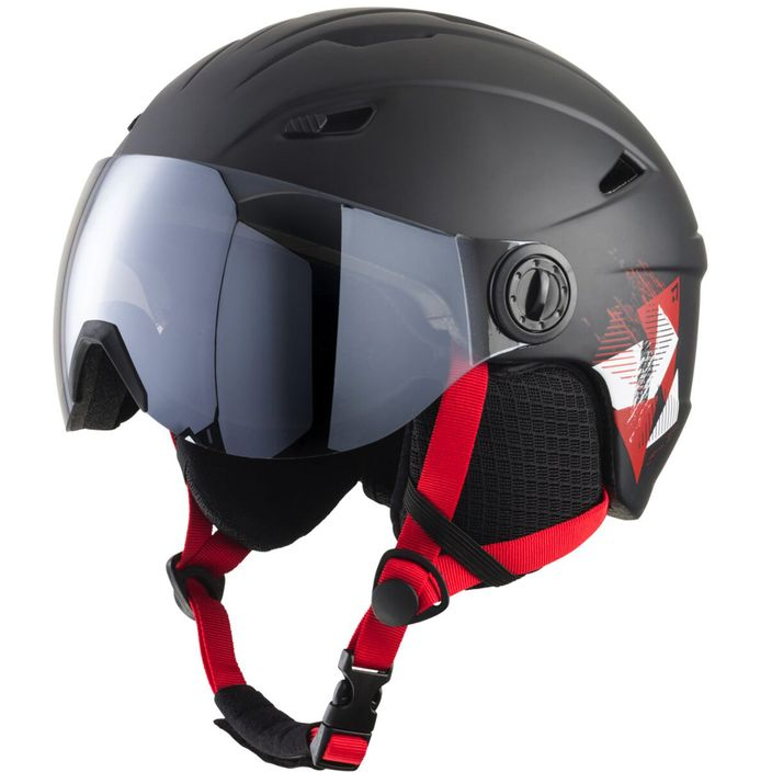 Tecno Pro Jungen Skihelm Pulse JR S2 Visor Black/Red