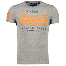 Superdry Premium Goods Duo Lite Tee Herren Freizeit T-Shirt podium mid grey grit
