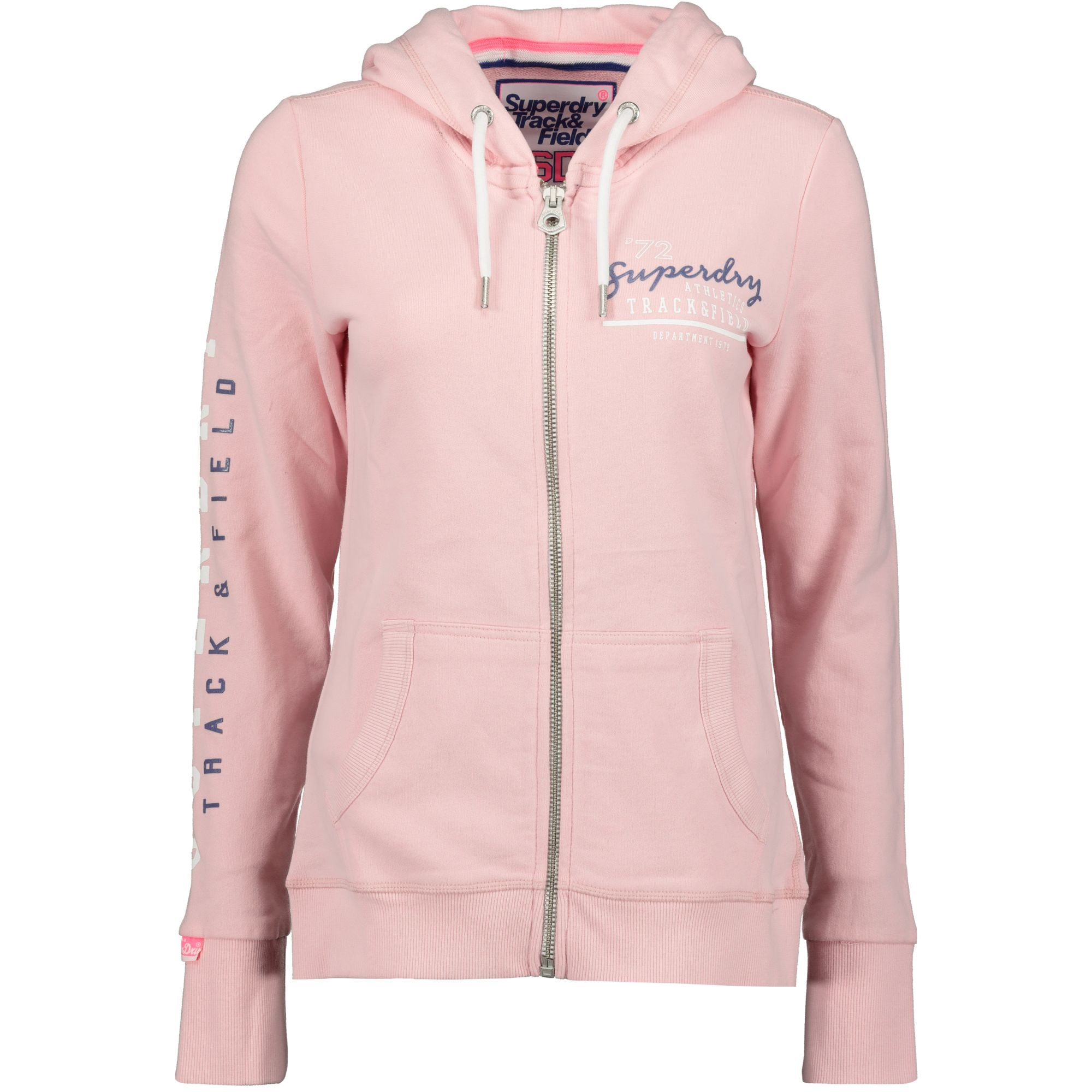 sports shoes 0c622 47f7a Details zu Superdry Track and Field Lite Ziphood Sweatjacke Damen fade pink