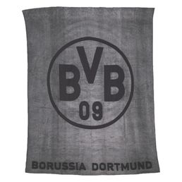 BVB Fleecedecke mit BVB Logo grau 150x200cm