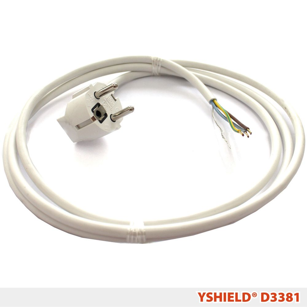 D3381   Plug with shielded cable and free end   2 m white