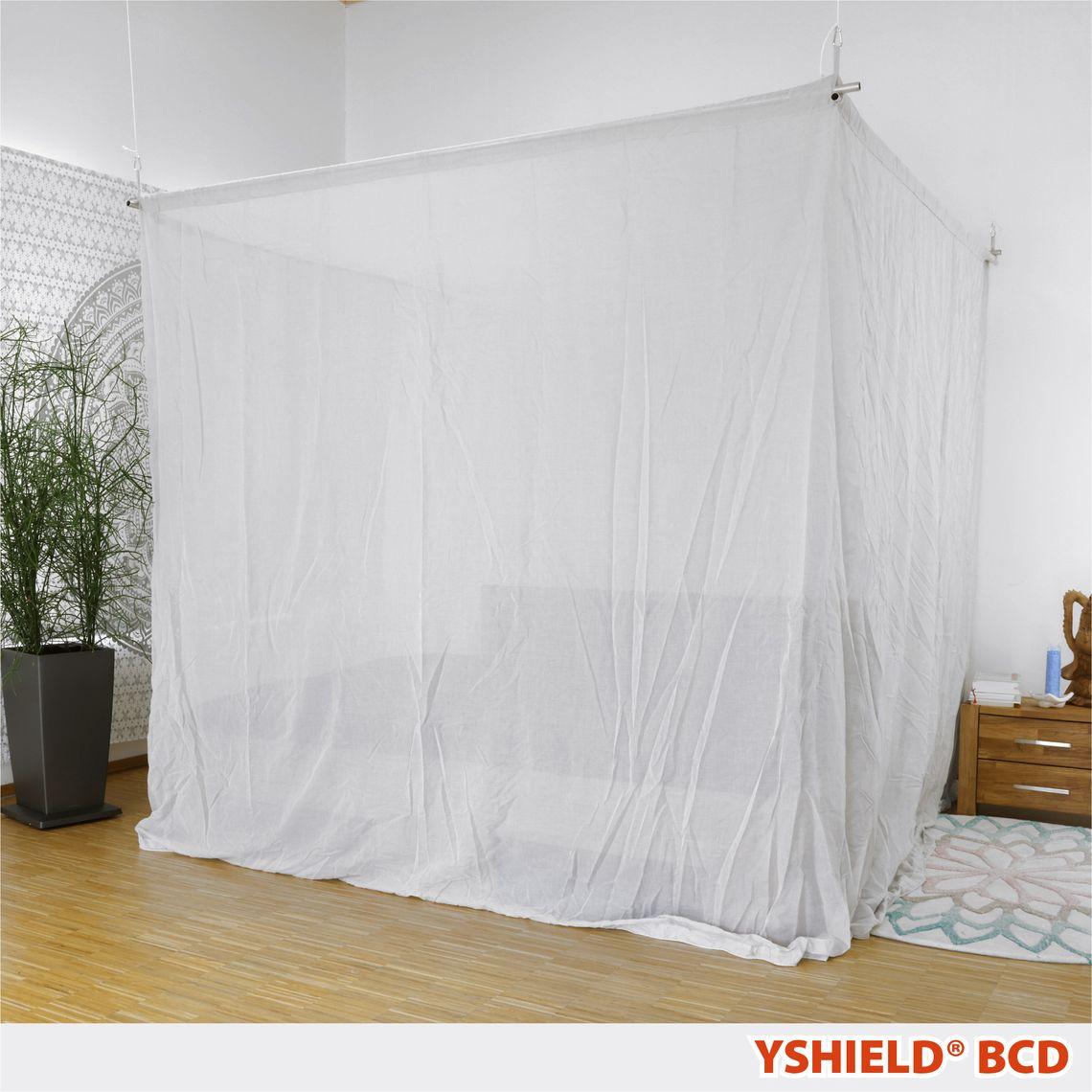 YSHIELD® BCD | Abschirmbaldachin | Doppelbett | SILVER-COTTON | Miete 14 Tage