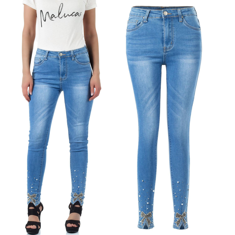 Malucas Damen Skinny High Waist Jeans Hose Mit Applikationen Schleifen und Strasssteinen