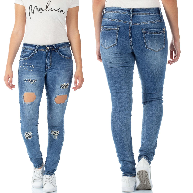 Details zu Damen Denim Jeans Hosen mit Blume Spitze Jeanshose Röhrenjeans Lange Damenjeans