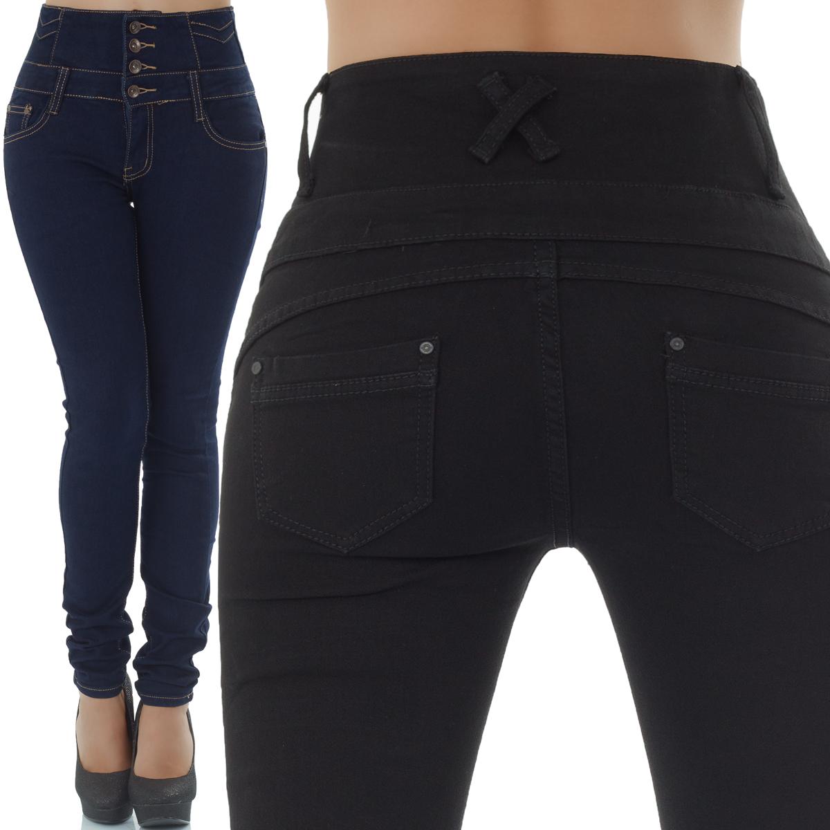 Malucas Damen Jeans High Waist Hose Röhrenjeans Röhrenhose Röhre Stretch Denim
