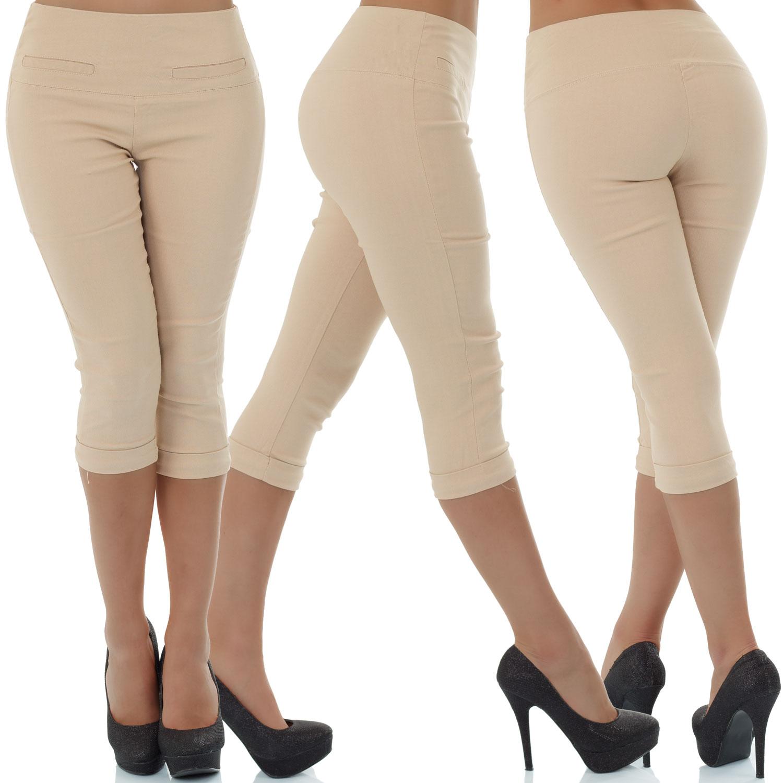 malucas-Damen-High-Waist-Capri-Hose-3-4-Knielang-Kurze-Shorts-Bermuda-Stretch