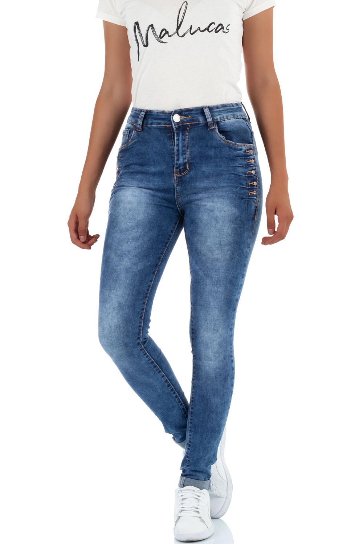 Malucas Damen Jeans High Waist Skinny Hose Röhrenjeans Röhrenhose Stretch Denim