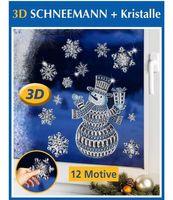 12 tlg. Wenko 3D Fenster Dekor Deko Schneemann Schneeflocken Kristalle Winter Weihnachten Fensterbilder