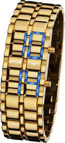 APUS Zeta Gold Blue AS-ZT-GB LED Uhr für Herren Design Highlight