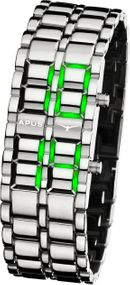 APUS Zeta Silver Green AS-ZT-SG LED Uhr für Herren Design Highlight