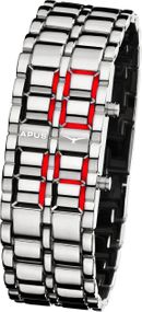 APUS Zeta Ladies Silver Red AS-ZTL-SR LED Uhr für Damen Design Highlight