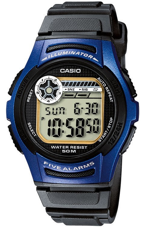 Casio Collection W-213-2AVES Digitaluhr für Herren 5 Alarmzeiten