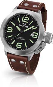 TW Steel Canteen Leather CS22 Sportliche Herrenuhr Kronenschutz