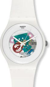Swatch WHITE LACQUERED SUOW100 Herrenarmbanduhr Design Highlight