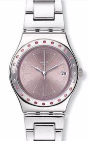 Swatch PINKAROUND YLS455G Damenarmbanduhr Mit Zirkonen