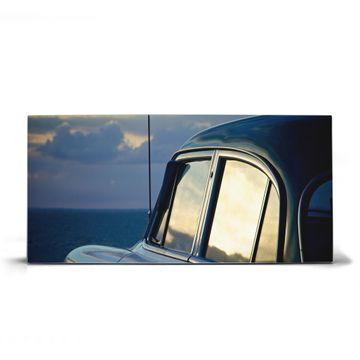 Magnettafel silber Querformat Auto am Strand