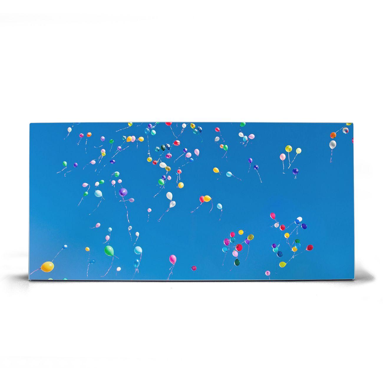 Magnettafel silber Querformat Bunte Luftballons