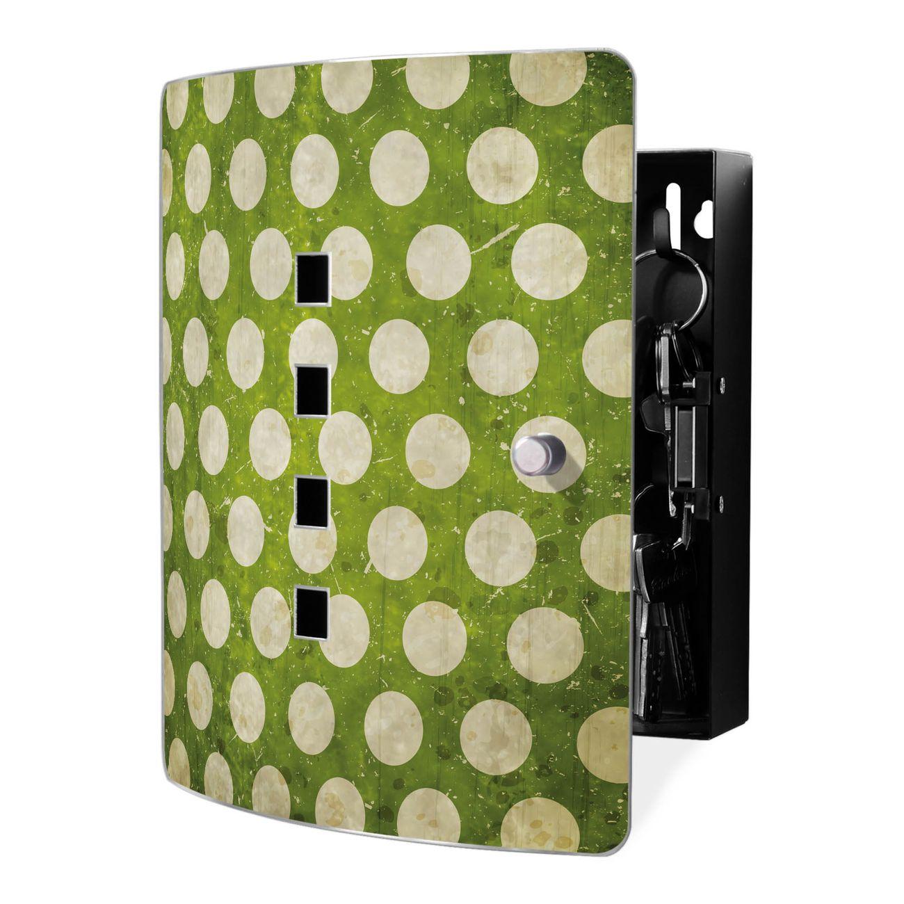 Schlüsselkasten Motiv Punkte Grün Vintage