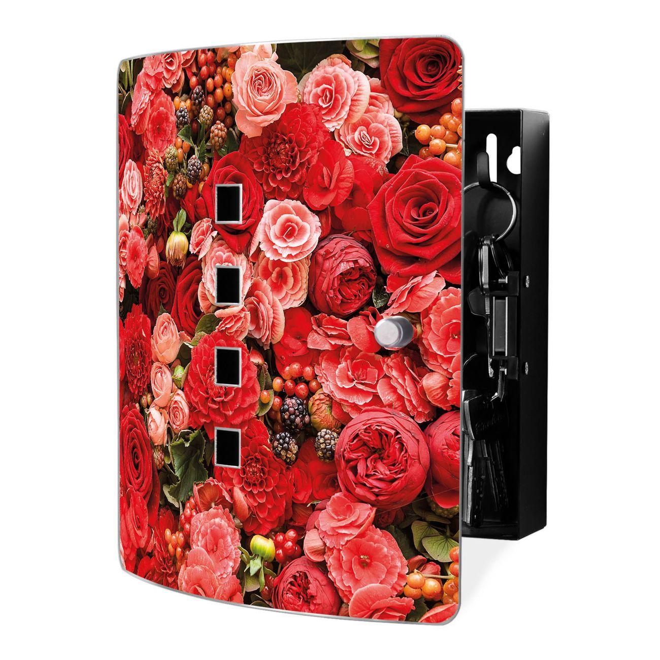 Schlüsselkasten Motiv Bouquet in Rot
