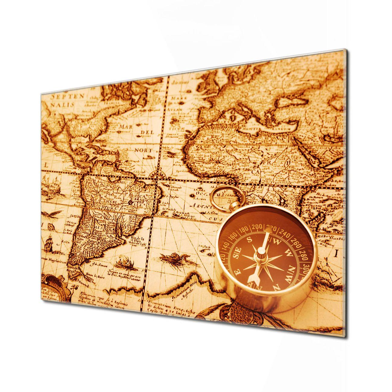 Küchenrückwand Glas Motiv World Map