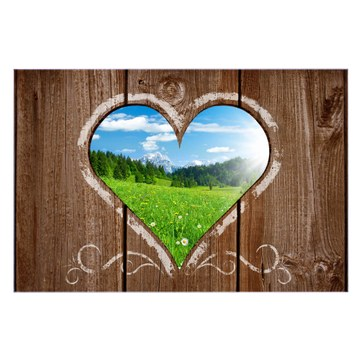 Küchenrückwand Glas Motiv Ausblick mit Herz