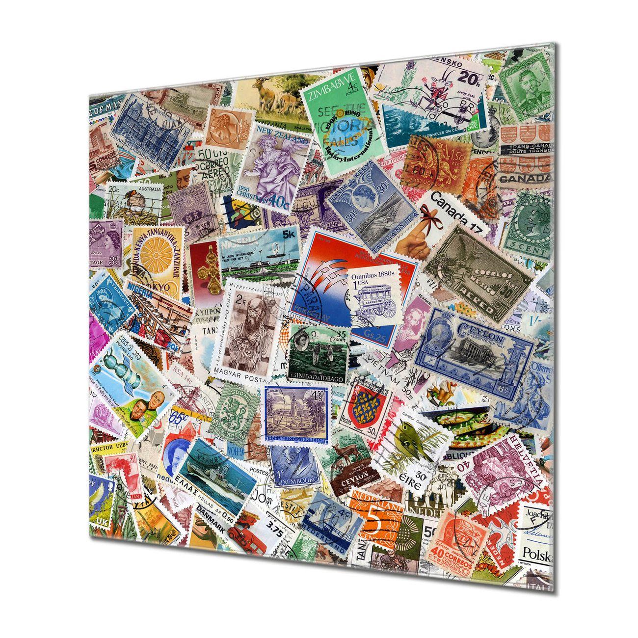 Küchenrückwand Glas Motiv Briefmarken