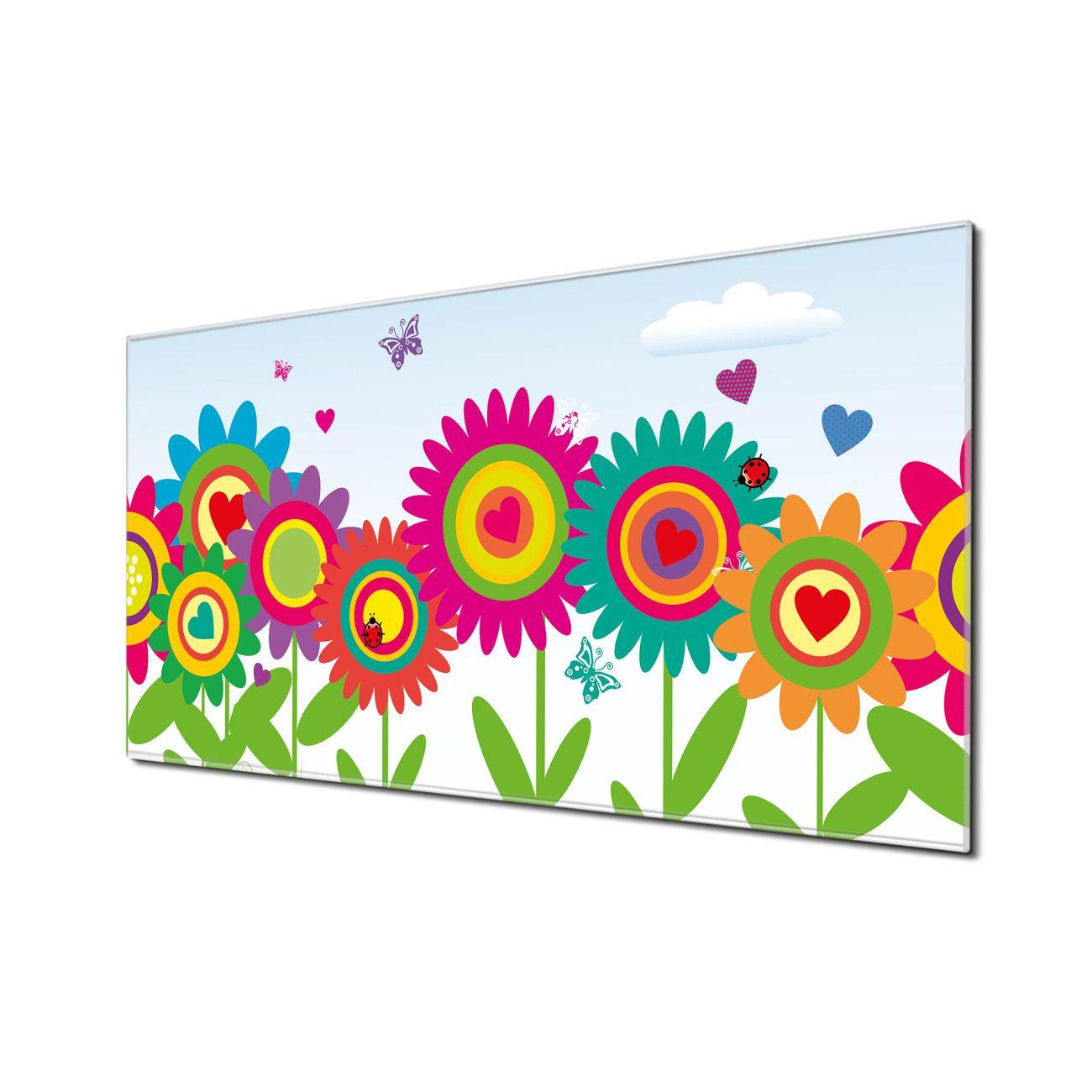 Küchenrückwand Glas Motiv Bunte Blumen