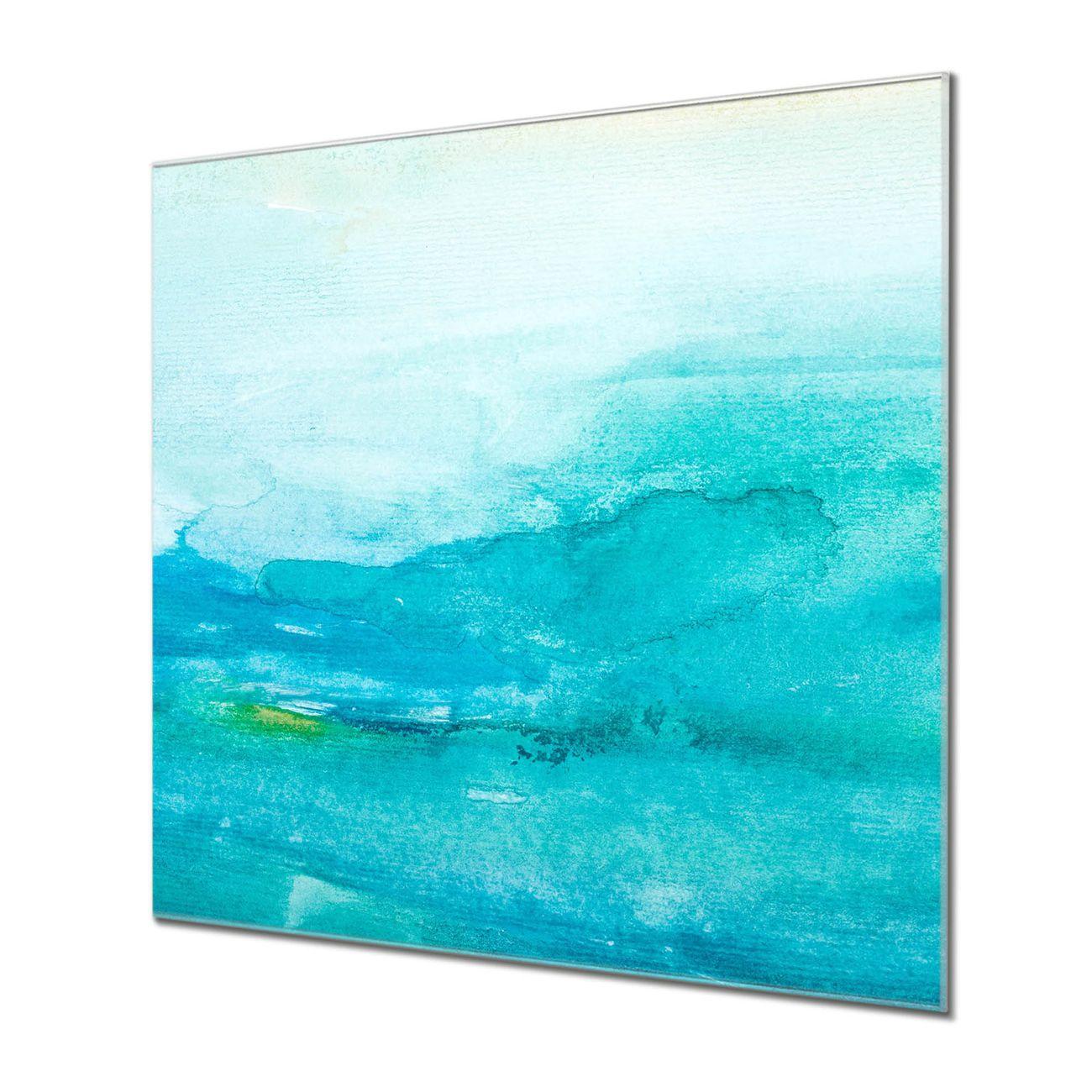 Küchenrückwand Glas Motiv Aquarell Blau