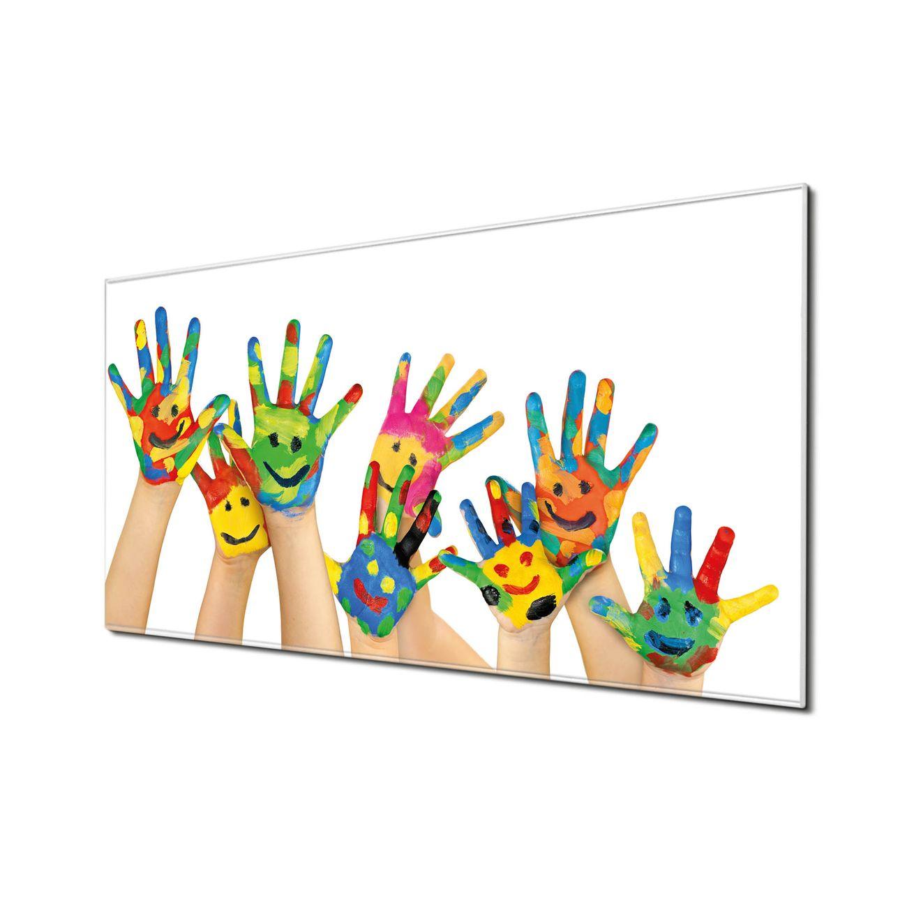 Küchenrückwand Glas Motiv Happy Hands