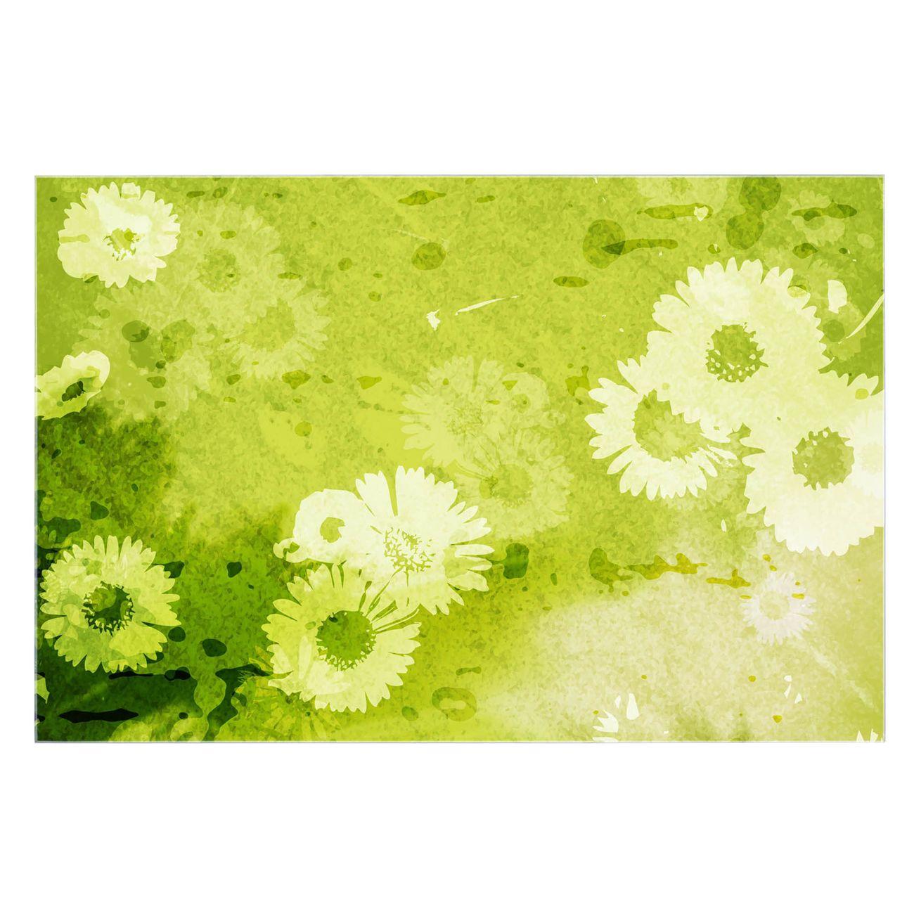 Küchenrückwand Glas Motiv Kamille Grün