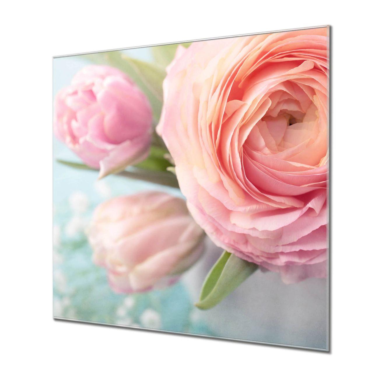 Küchenrückwand Glas Motiv Rosa Tulpe