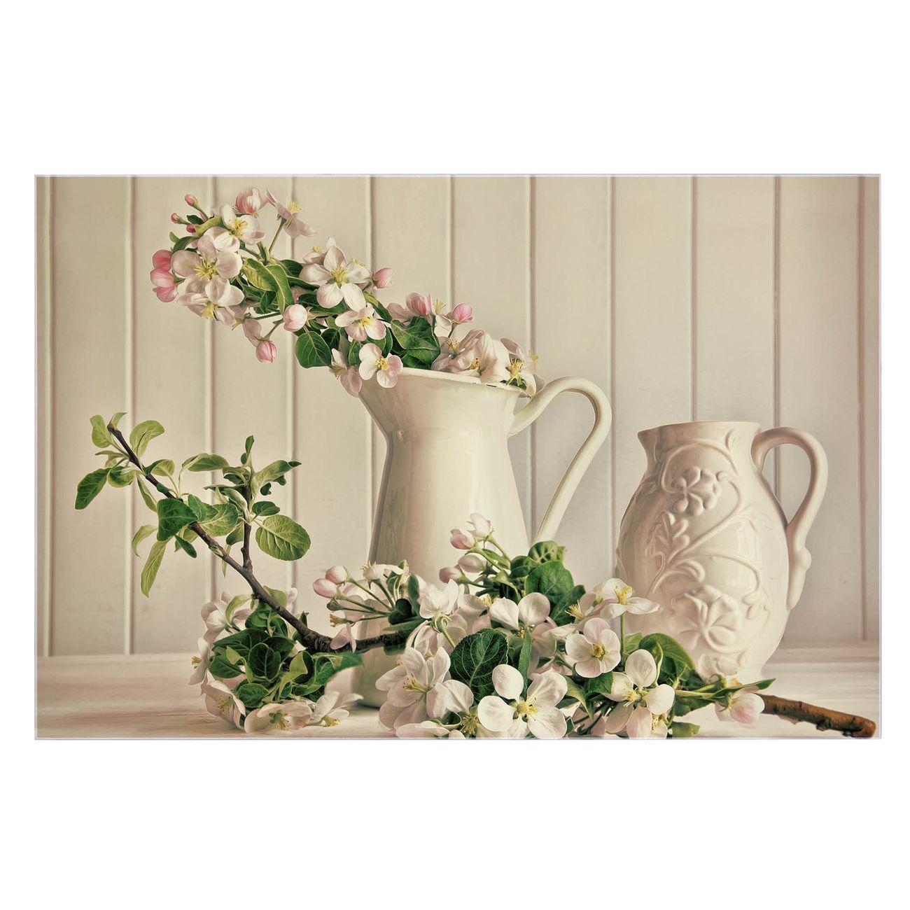 Küchenrückwand Glas Motiv Stillleben Kirschblüten