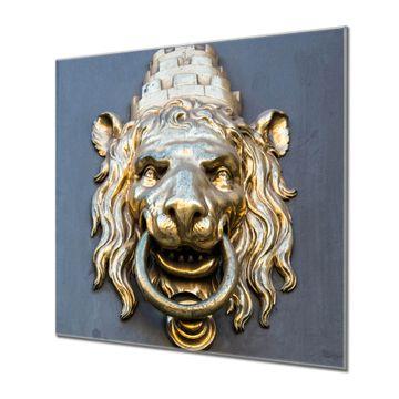 Küchenrückwand Glas Motiv Türklopfer Löwe