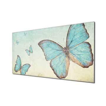 Küchenrückwand Glas Motiv Blaue Schmetterlinge