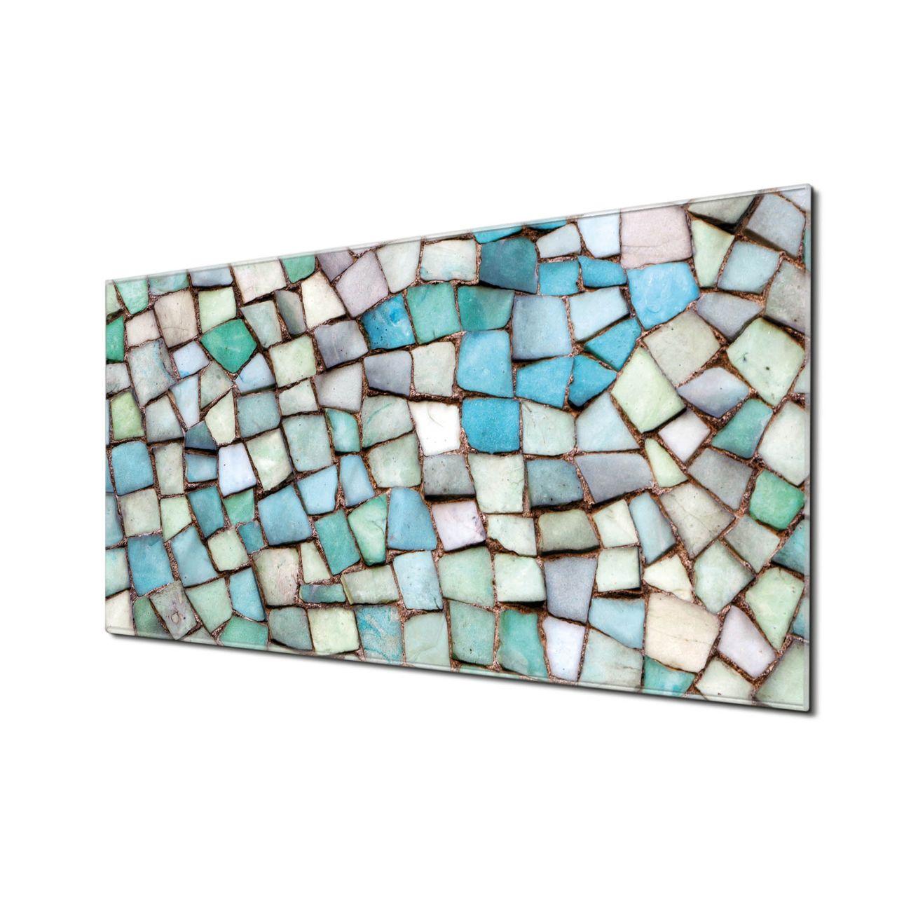Küchenrückwand Glas Motiv Mosaik Blau