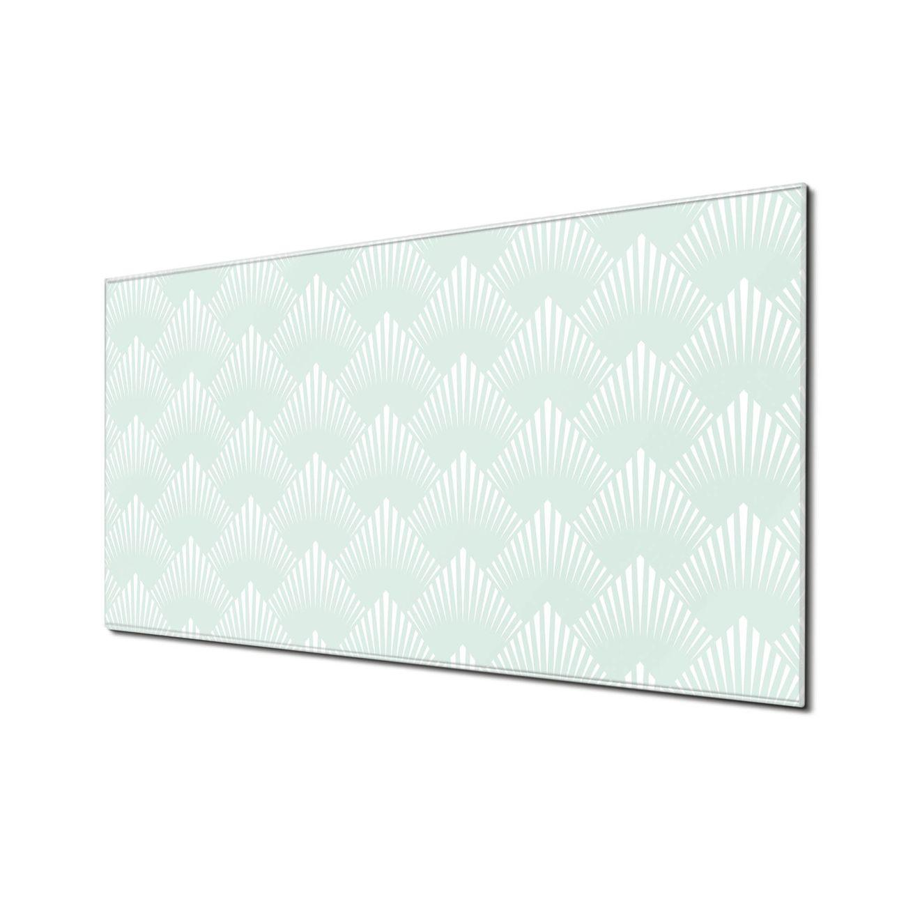 Küchenrückwand Glas Motiv Strahlen Mint