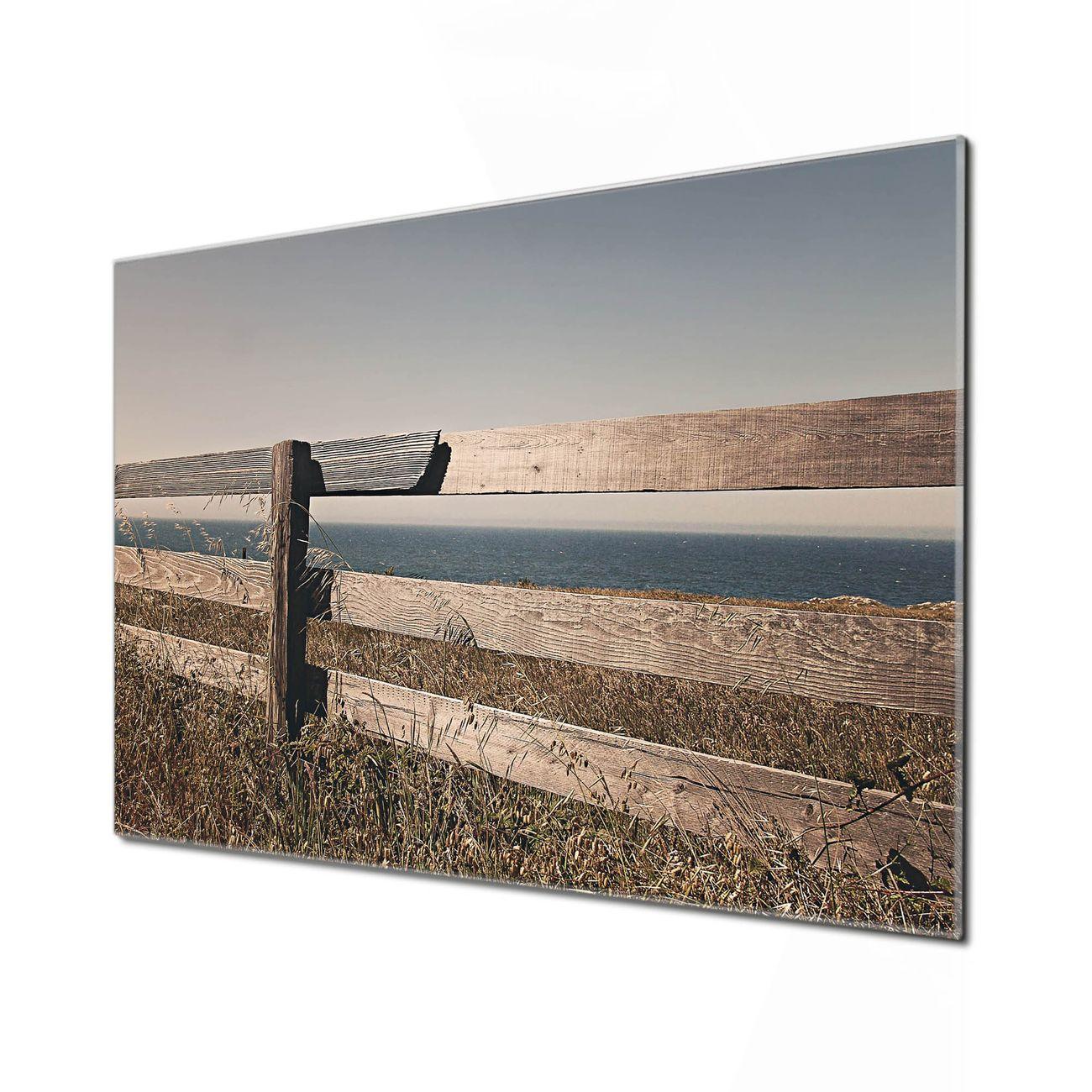 Küchenrückwand Glas Motiv Zaun am Meer