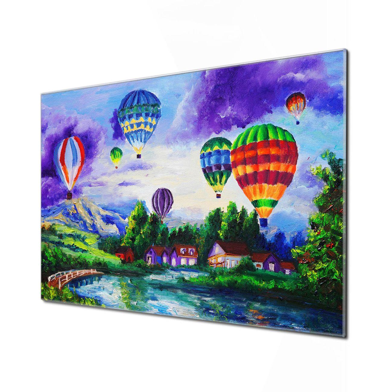 Küchenrückwand Glas Motiv Ballons In Lila Wolken