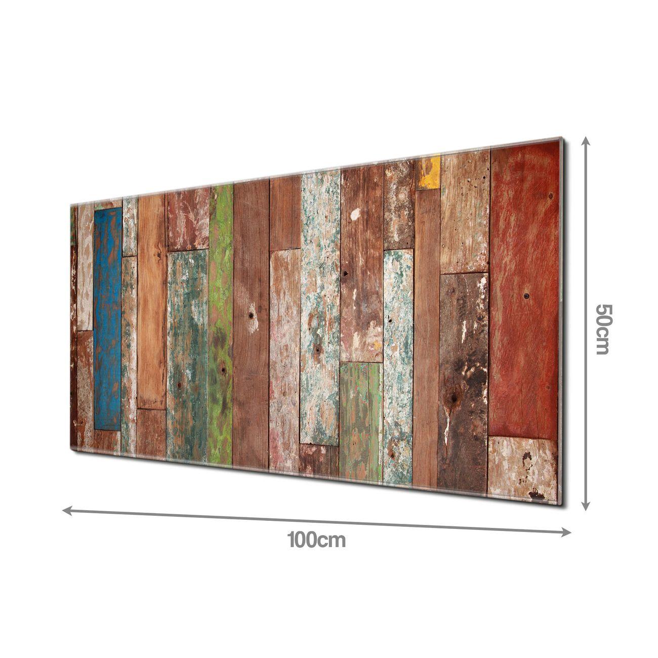 Küchenrückwand Glas Motiv Buntes Holz | banjado Wohnwelten