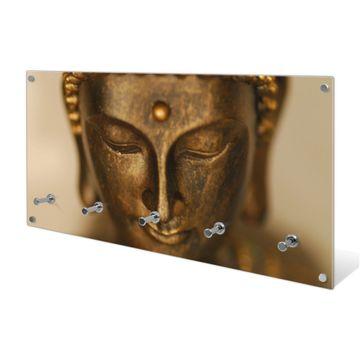Garderobe aus Glas Motiv Buddha Gold