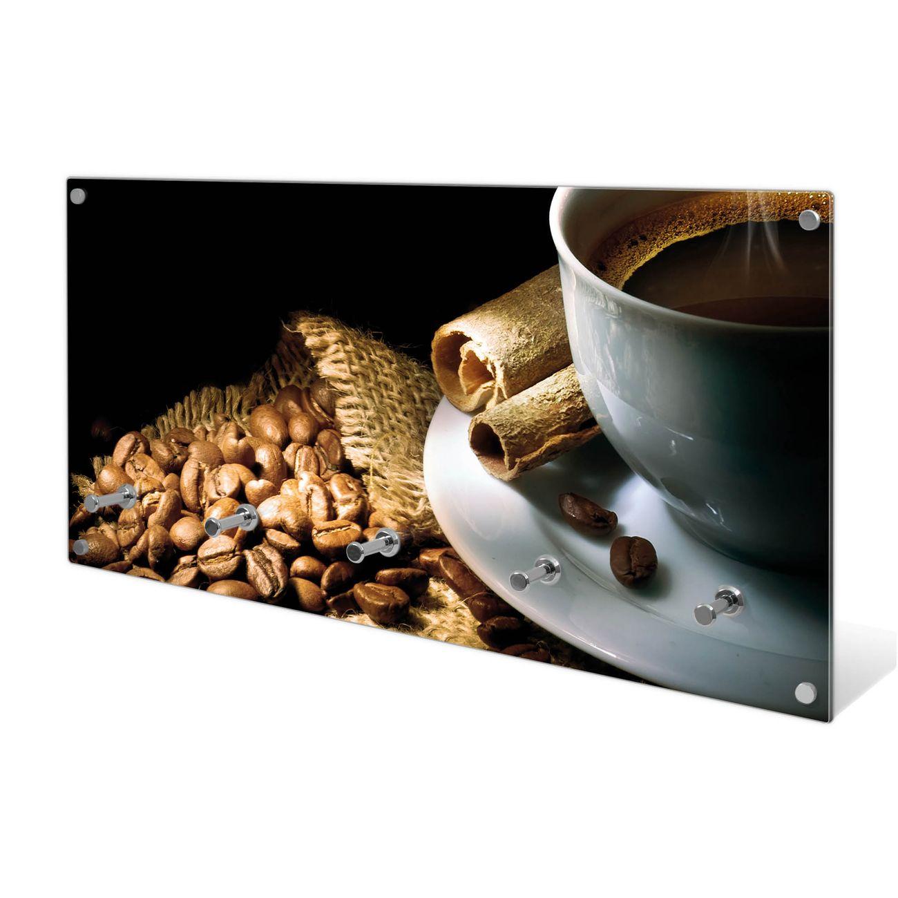Garderobe aus Glas Motiv Hot Coffee