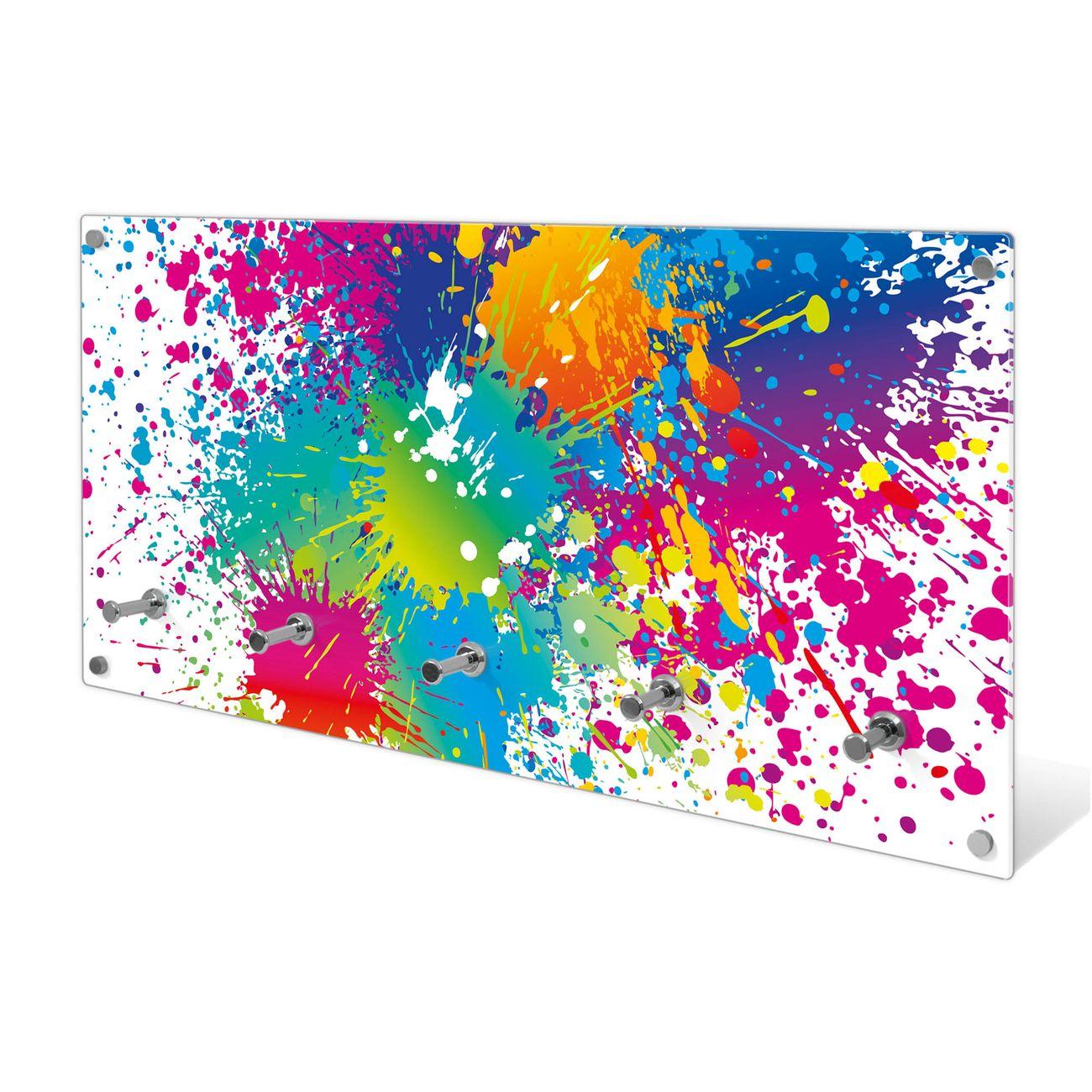 Garderobe aus Glas Motiv Farbspritzer