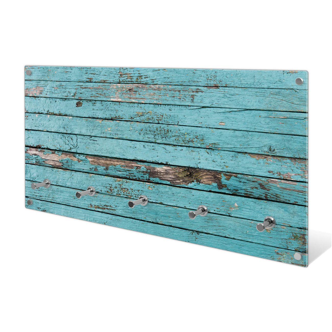 Garderobe aus Glas Motiv Blaue Holzlatten